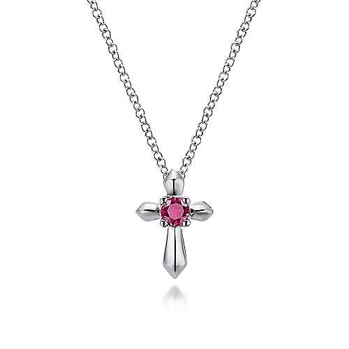 925 Silver Secret Garden Cross Necklace angle 1
