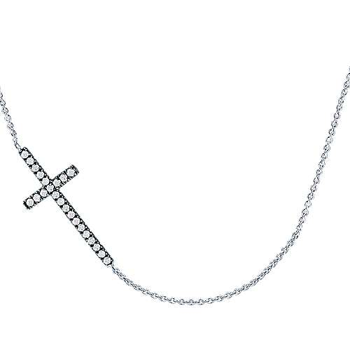 925 Silver Shadow Play Cross Necklace