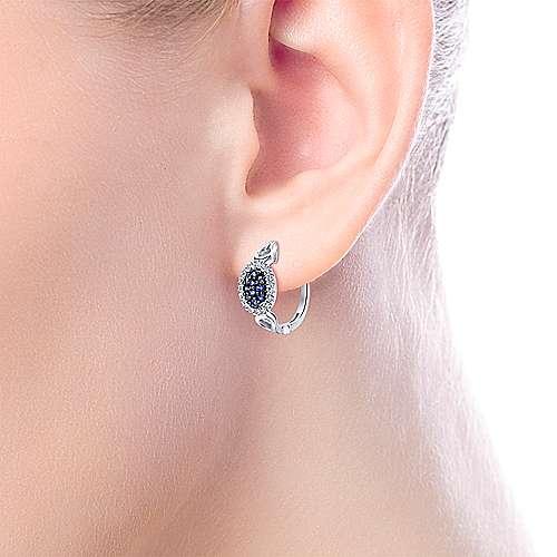 925 Silver Silk Huggie Earrings angle 2