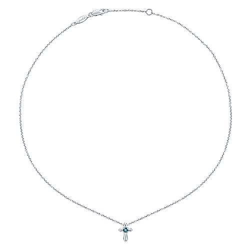 925 Silver Sky Blue Topaz Cross Necklace angle 2