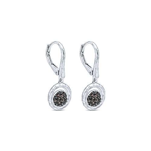 925 Silver Smoky Quartz Drop Earrings angle 2