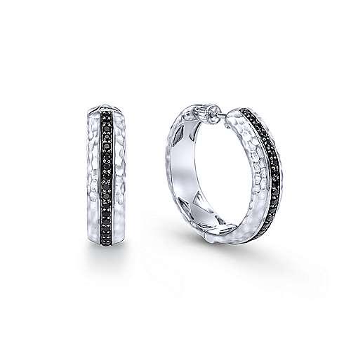 925 Silver Souviens Classic Hoop Earrings angle 1