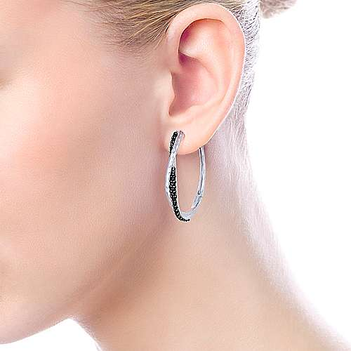 925 Silver Souviens Classic Hoop Earrings angle 2