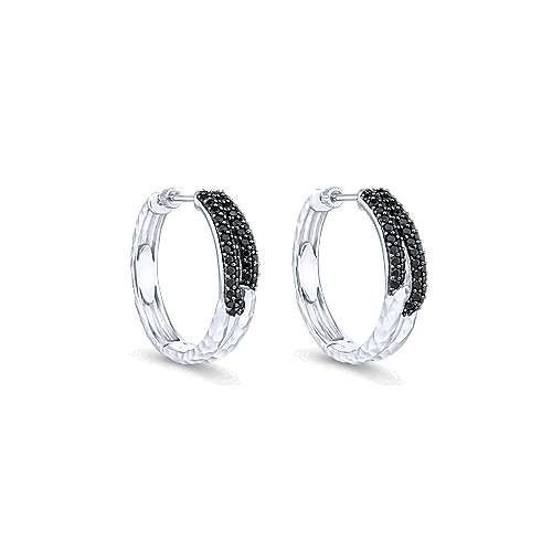 925 Silver Souviens Classic Hoop Earrings angle 1
