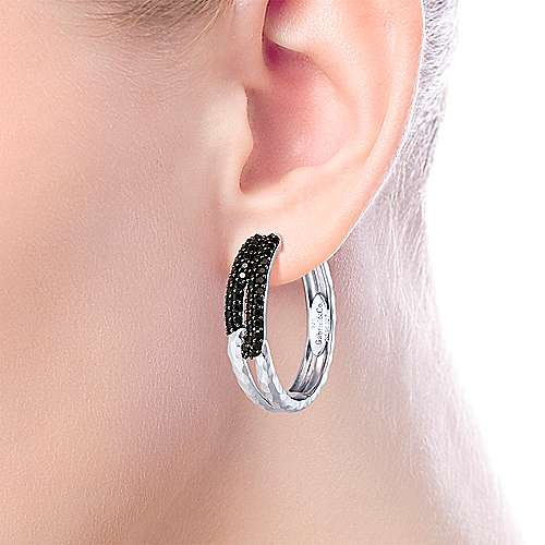 925 Silver Souviens Classic Hoop Earrings angle 4