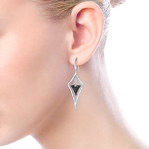925 Silver Souviens Drop Earrings angle 2