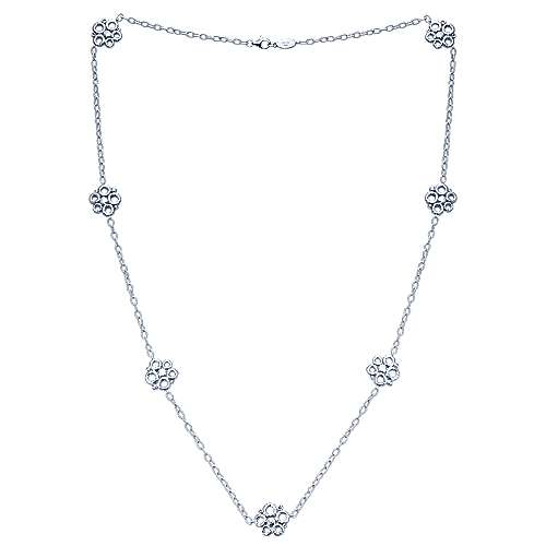 925 Silver Souviens Station Necklace angle 2
