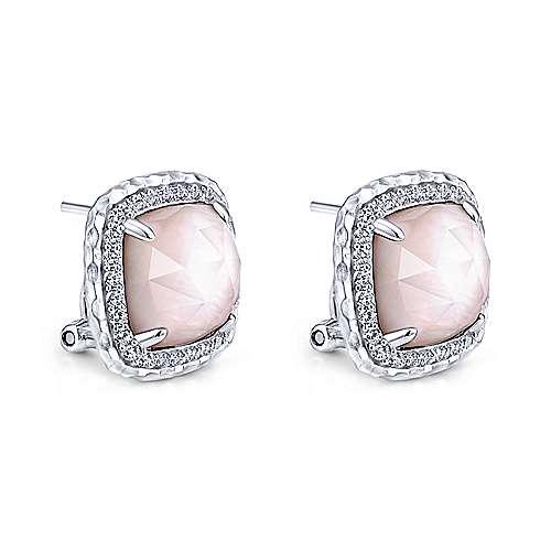 925 Silver Souviens Stud Earrings angle 2