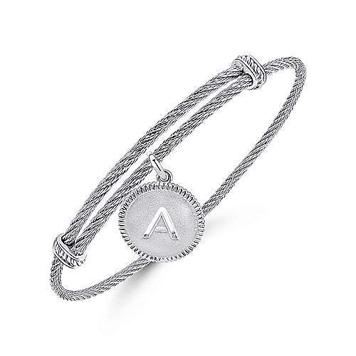 925 Silver/Stainless Steel Initial A Bangle angle 2