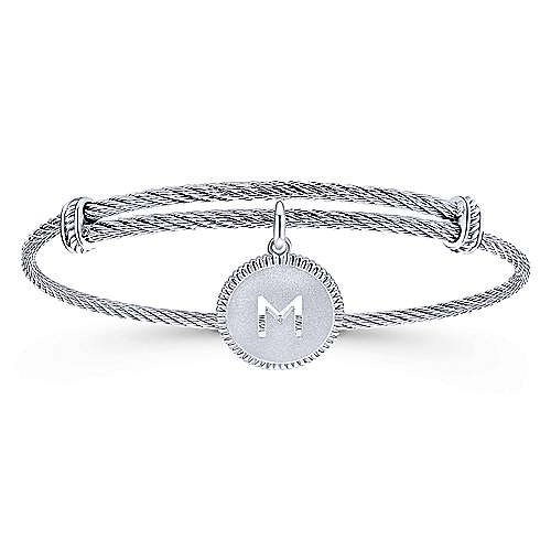 Gabriel - 925 Silver/Stainless Steel Initial M Bangle