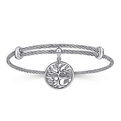 Gabriel - 925 Silver/Stainless Steel Tree Design Charm Bangle