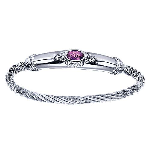 925 Silver Steel My Heart Twisted Cable Bangle