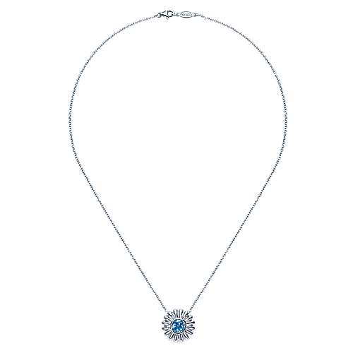 925 Silver Swiss Blue Topaz Fashion Necklace angle 2