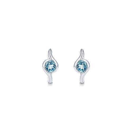 925 Silver Swiss Blue Topaz Huggie Earrings angle 3