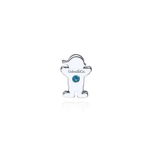 925 Silver Swiss Blue Topaz Locket Boy Charm Pendant angle 2