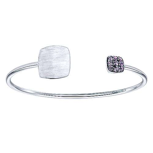 925 Silver Syn. Alexdrite Engravable Bangle angle 1