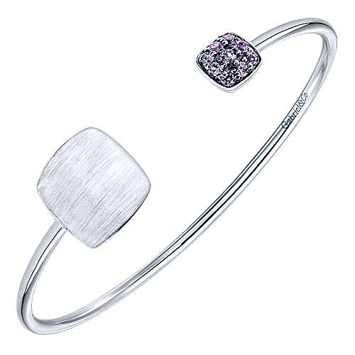 925 Silver Syn. Alexdrite Engravable Bangle angle 2