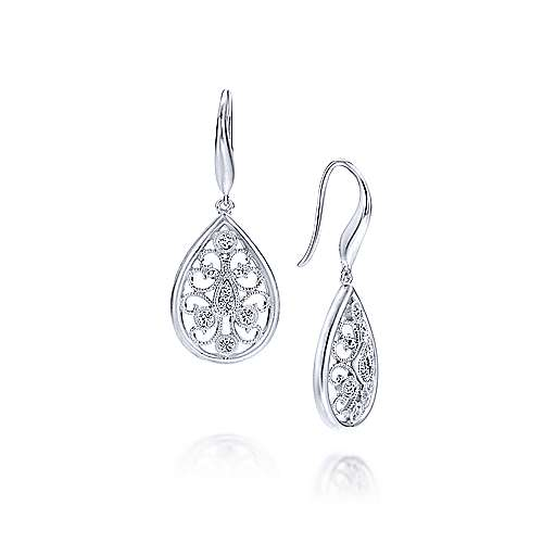 925 Silver Victorian Drop Earrings angle 1