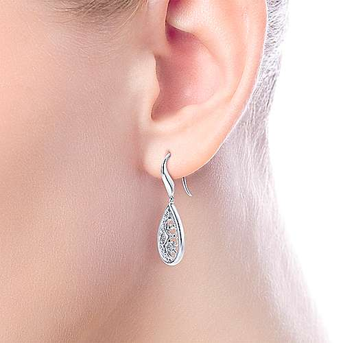 925 Silver Victorian Drop Earrings angle 2