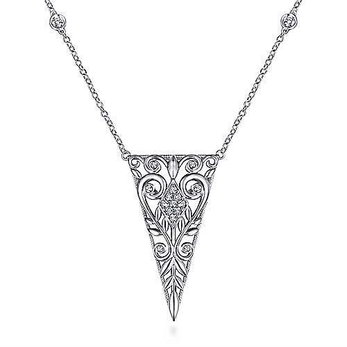 925 Silver Victorian Fashion Necklace angle 2