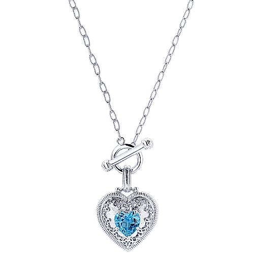 925 Silver Victorian Heart Necklace angle 1