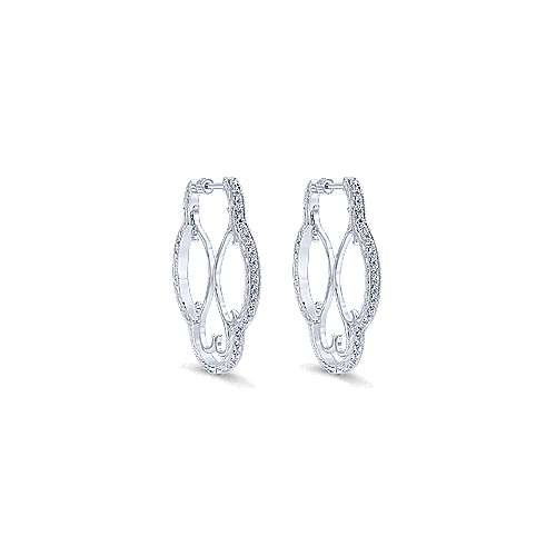 925 Silver Victorian Intricate Hoop Earrings angle 1