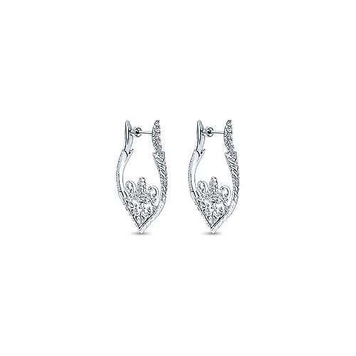 925 Silver Victorian Intricate Hoop Earrings angle 1