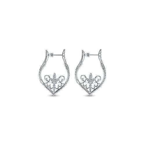 925 Silver Victorian Intricate Hoop Earrings angle 2