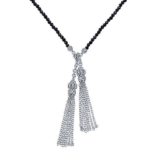 925 Silver Victorian Lariat Necklace angle 1