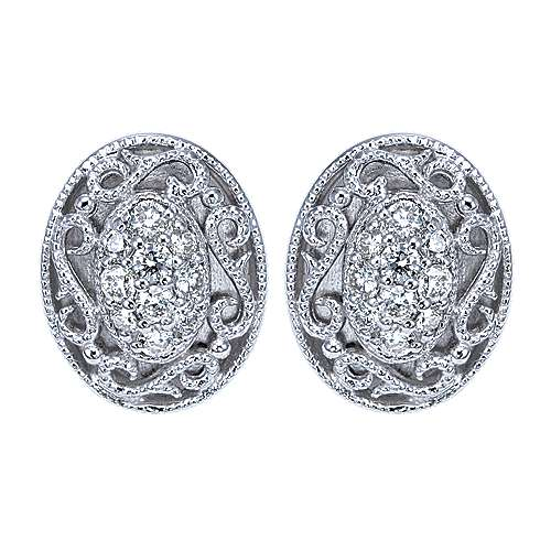925 Silver Victorian Stud Earrings angle 1