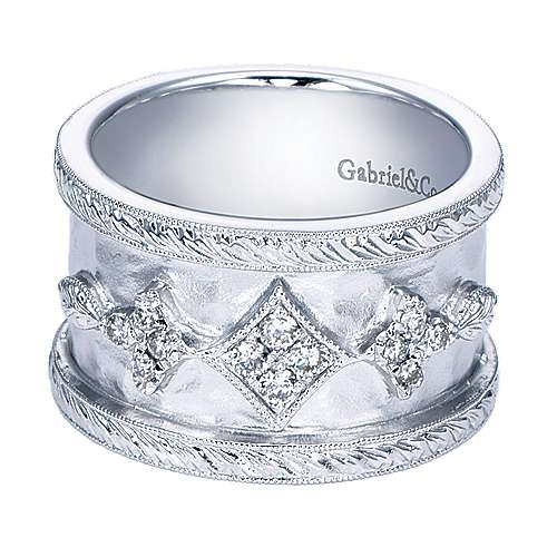 925 Silver Victorian Wide Band Ladies' Ring angle 1