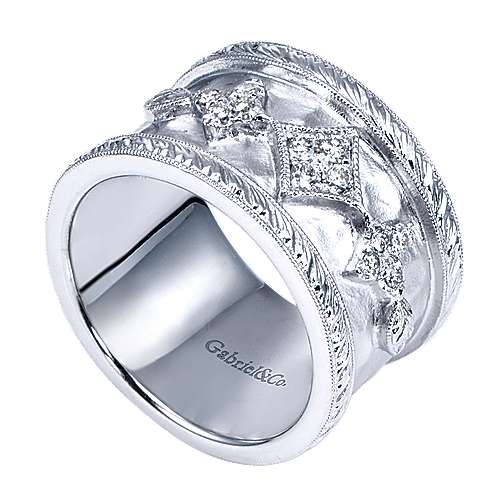 925 Silver Victorian Wide Band Ladies' Ring angle 3
