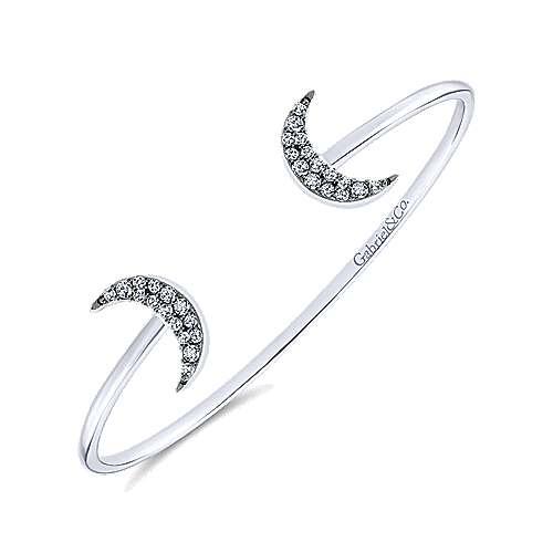 925 Silver White Sapphire Bangle angle 2