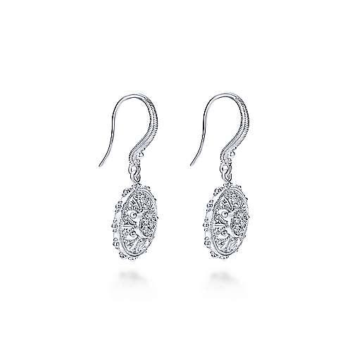 925 Silver White Sapphire Drop Earrings angle 2