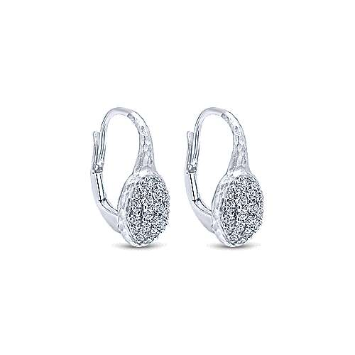 925 Silver White Sapphire Drop Earrings angle 2