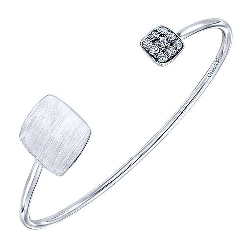 925 Silver White Sapphire Engravable Bangle