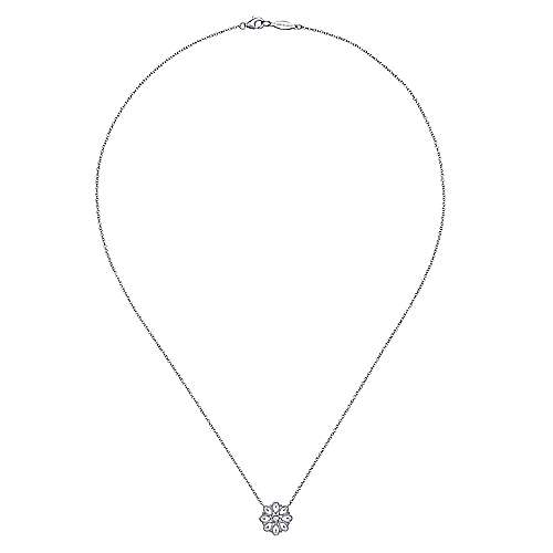 925 Silver White Sapphire Fashion Necklace angle 2
