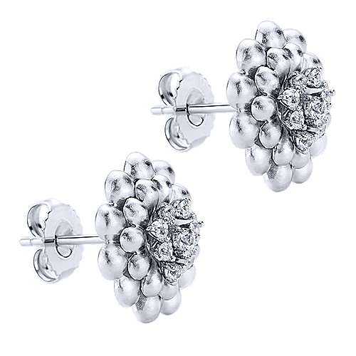 925 Silver White Sapphire Stud Earrings angle 2