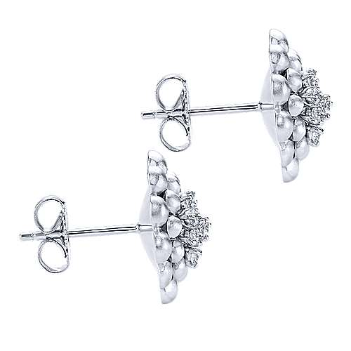 925 Silver White Sapphire Stud Earrings angle 3