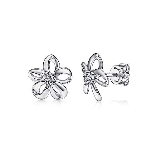 Gabriel - 925 Silver Floral Stud Earrings