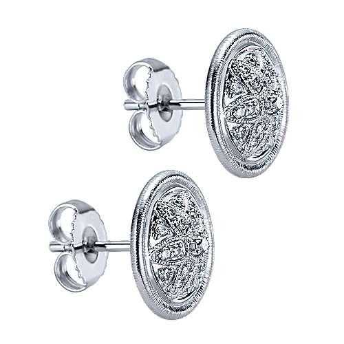 925 Silver White Sapphire Stud Earrings angle 2