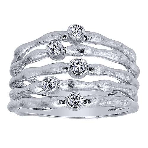 925 Silver White Sapphire Wide Band Ladies