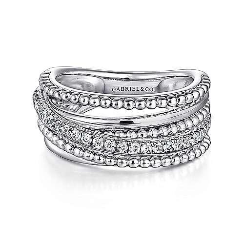 925 Silver White Sapphire Wide Band