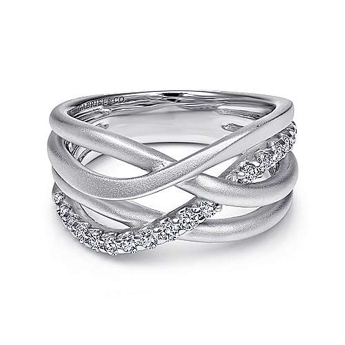 Gabriel - 925 Silver Contemporary Wide Band Ladies' Ring