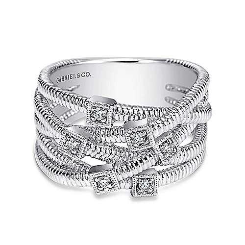 Gabriel - 925 Silver Wide Band Ladies Ring