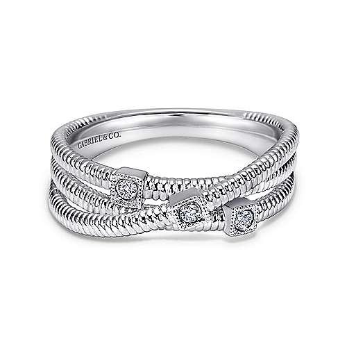 Gabriel - 925 Silver Wide Band Three Layered Ladies Ring