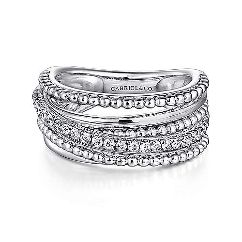 Gabriel - 925 Silver Wide Band White Sapphire Ladies Ring