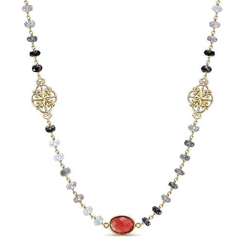Gabriel - 925 Silver Yellow Plated Infinite Gems Diamond By The Yard Necklace