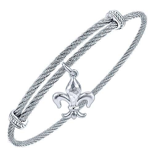 925 Silver and Stainless Steel Fleur-de-lis Charm Bangle angle 2