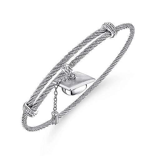 925 Silver and Stainless Steel Graduation Cap Bangle angle 2
